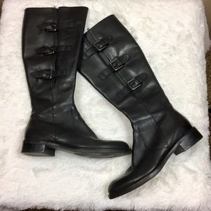 Ecco Hobart Black Buckle Leather Tall Boots 8